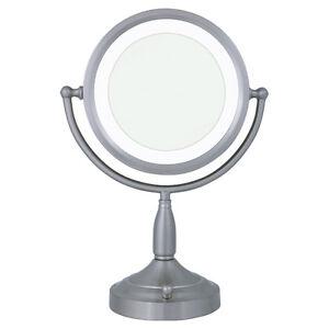 Zadro 8X / 1X Satin Nickel Lighted Round Vanity Mirror