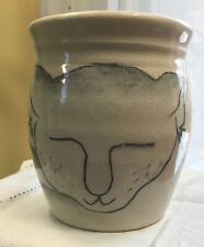 VTG Hand Thrown Pottery Small Mug Hand Painted Sleepy Cat Pink Paw Artist Signed