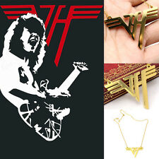 VH Charm Eddie Van Halen Logo Stainless Steel 18K Gold Plated Pendant Necklace