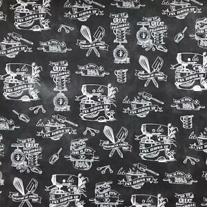 In The Kitchen chalk black fabric by Robert Kaufman