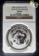 2000 Year of the Dragon $1 Australia NGC MS-69 RARE 1 OZ .999 Silver MS69 Lunar