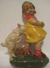 Old Composition Italy Figure Farm Girl w/ Apples Attacked by Goat Christmas Putz