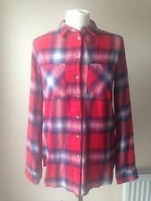 TOPSHOP Red Lumberjack Checked Oversized Light Shirt Size 6 BNWT BB