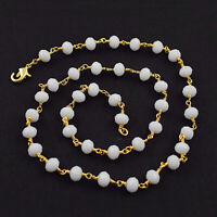 White Moonstone Hydro Faceted Gemstone Wire Wrapped Rosary Beaded Chain Necklace
