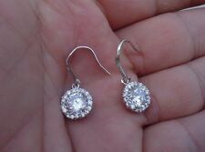 Hook Earrings W/ 4 Ct Diamonds/Stunning! 925 Sterling Silver Ladies Round Center