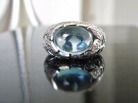 Chunky Sterling Silver 925 Natural Blue Moonglow Leaf Vine Branch Ring Size 9