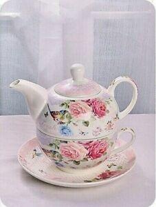 Birds Saying 3 piece TEA FOR ONE teapot and teacup set