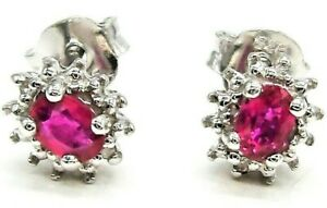 SILVER STUD EARRINGS RUBY REAL DIAMOND 925 Sterling Silver OVAL Boxed