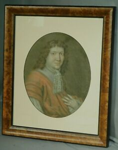 Antique 18th century Old Master 1700's Portrait Painting Handsome Young Man BURL