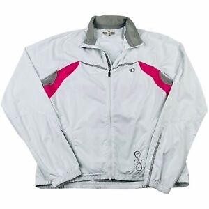 Pearl Izumi Womens Full Zip Soft Shell Cycling Jacket Sz Medium White Pink Water
