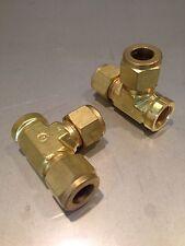 "Swagelok B-810-3TFT Brass Tube Fitting, Running Tee, 1/2"" ID - 3/8"" FNPT"