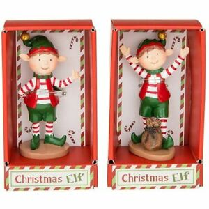 Small Christmas Elf Decorative Figurines Set of 2 Ideal for Christmas Eve Boxes