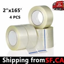 Transparent fiber tape, fixed strong stripe sealing fiber tape,2''x165',4 rolls