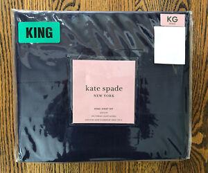 NEW! Kate Spade Weston Hemstitch KING Sheet Set Navy Blue Cotton Sateen