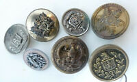 Lot 7 Vintage Buttons Mid Century Older Metal Shank Coat Arms Eagle Shields