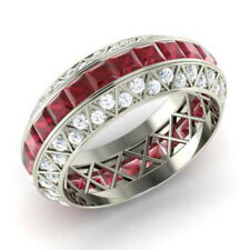 3.50 Ct Genuine Ruby Wedding Eternity Band 950 Platinum Diamond Ring Size 6 7 8