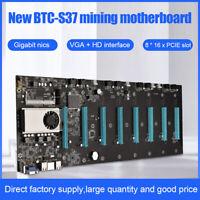 BTC-S37 ETC Miner Motherboard 8GPU 8 PCIE x16 Graphics Card w/ Cpu DDR3 VGA HDMI