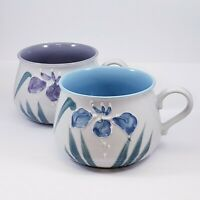 Set of 2 Takahashi Japan Hand Painted Textured Flower Floral Coffee Mugs Cups