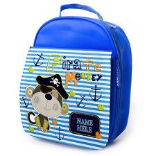 Bolsa De Almuerzo Mono Personalizado Pirata Azul Escuela Aislado Lunchbox niños ST134