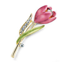 Women Vintage Brooch Rhinestone Crystal Tulip Flower Wedding Bridal Brooch Pin Z