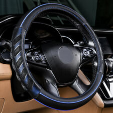 Car Steering Wheel Cover Blue Faux Leather Universal Non-slip 37-39cm Odorless