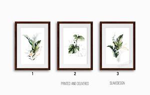 Botanical Prints Wall Art Set of 3x Monstera Fern Palm Leaves Green & Gold Line