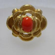 Vintage New Old Stock Gold Tone Coral Cabochon Adjustable Flower Ring~PRETTY!