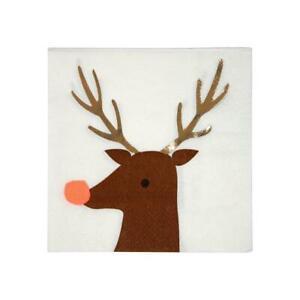 MERI MERI CHRISTMAS Rudolph the Reindeer Small Napkins (16 Pack)