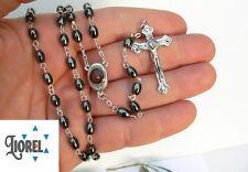 Hematite Stone Black Beads Rosary Catholic Crucifix Necklace Pendant, Jerusalem
