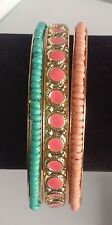 bracelet rigide lot de 3 couleur or émaillé perles couleur bleu orange  356