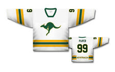 Team Australia White Ice Hockey Jersey Custom Name and Number