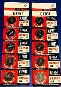 E-Fast CR-2032 E-FAST,CR-2032 LITHIUM 3v COIN BATTERIES  10 Batteries, Coains