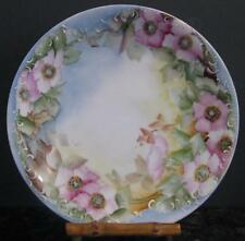 BEAUTIFUL HAND PAINTED LIMOGES FRANCE CABINET PLATE PINK FLORAL SIGNED