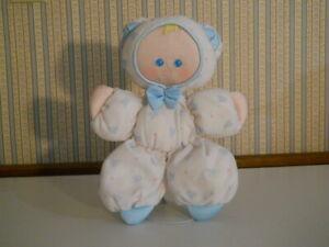"VTG 1989 Fisher Price Slumber Babies plush 11"" doll white w blue teddy bears   L"