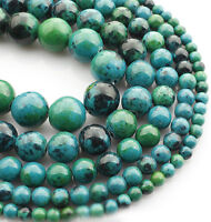 "15"" Strand Natural Blue Chrysocolla Gemstone Stone Spacer Loose Beads 4/6/8/10mm"