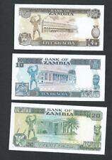 Zambia Banknote Set of 3    5,10,20 Kwacha Crisp Uncirculated