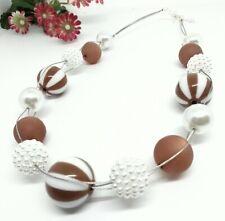 FRECHE Halskette braun weiss grosse Perlen Kette Streifen Glanz Polaris  50 cm