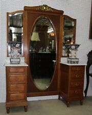 Antique Country French Vanity Princess Dresser Triple & Full Length Mirror c1890