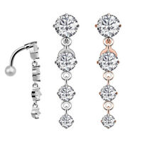 14G CZ Dangle Belly Button Ring Surgical Steel Reverse Naval Piercing Jewelry