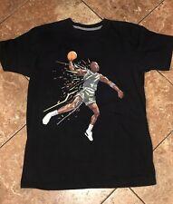 MICHAEL JORDAN MJ Basketball T Shirt Sz M Black Multicolor Logo