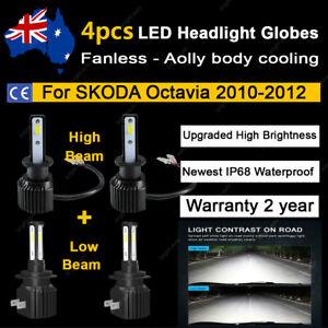 For SKODA Octavia 2010 2011 2012 4x Headlight Globes High Low Beam LED Bulbs A2