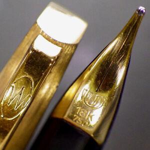 WATERMAN 18K Faceted Converter Fountain Pen 18K 750 Gold Flex M Nib Serviced