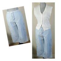 VTG RALPH LAUREN Womens Size 8 Light Blue High Waist Cropped Nautical Pants