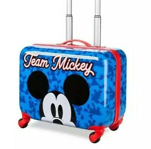Disney Luggage Mickey Mouse Rolling Suitcase Hard Case Blue Red NEW