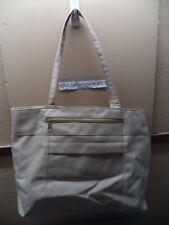 "Haband Beige Microfiber Handbag 15.5"" x 11"" x 3.5"", 2 Zippered Pockets VGC"