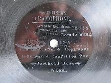 "78rpm E. BERLINER GRAMOPHONE 7"" - BERTHOLD ROSE Vienna: Aus Liab zum 4. Regiment"