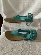 NWD TOD'S ITALY Aqua Blue Leather T Strap Ankle Strap Thongs Sandals Sz 41/10