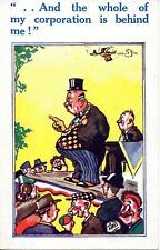 THE WHOLE OF MY CORPORATION IS BEHIND ME c1930 ARTIST AKKI COMIC POSTCARD