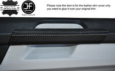 WHITE STITCH 2X DOOR HANDLE TRIM LEATHER COVERS FITS VW T6 TRANSPORTER 15-17