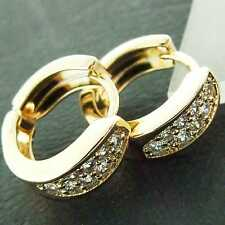 EARRINGS HUGGIE HOOP GENUINE REAL 18K YELLOW G/F GOLD DIAMOND SIMULATED DESIGN